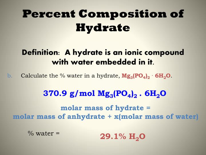 experiment percent water in a hydrated 4 determine the mass percentage of water in a hydrate 5 understand the law of definite composition and law of conservation of mass prior to lab read the sections of our textbook that discuss the topics: moles, molar mass.