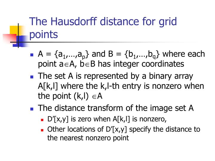 The Hausdorff distance for grid points