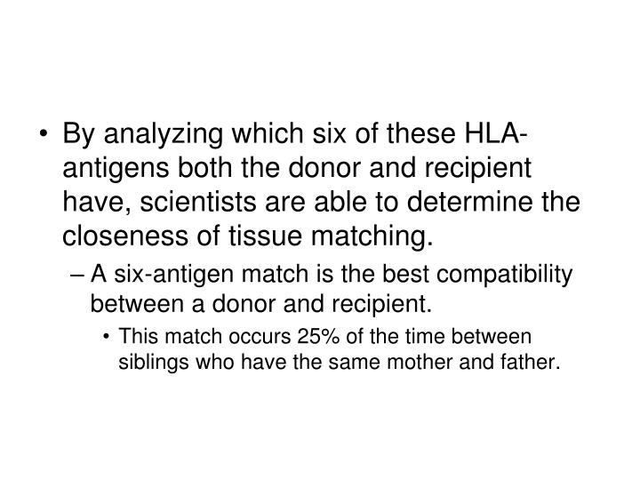 By analyzing which six of these HLA-antigens both the donor and recipient have, scientists are able to determine the closeness of tissue matching.