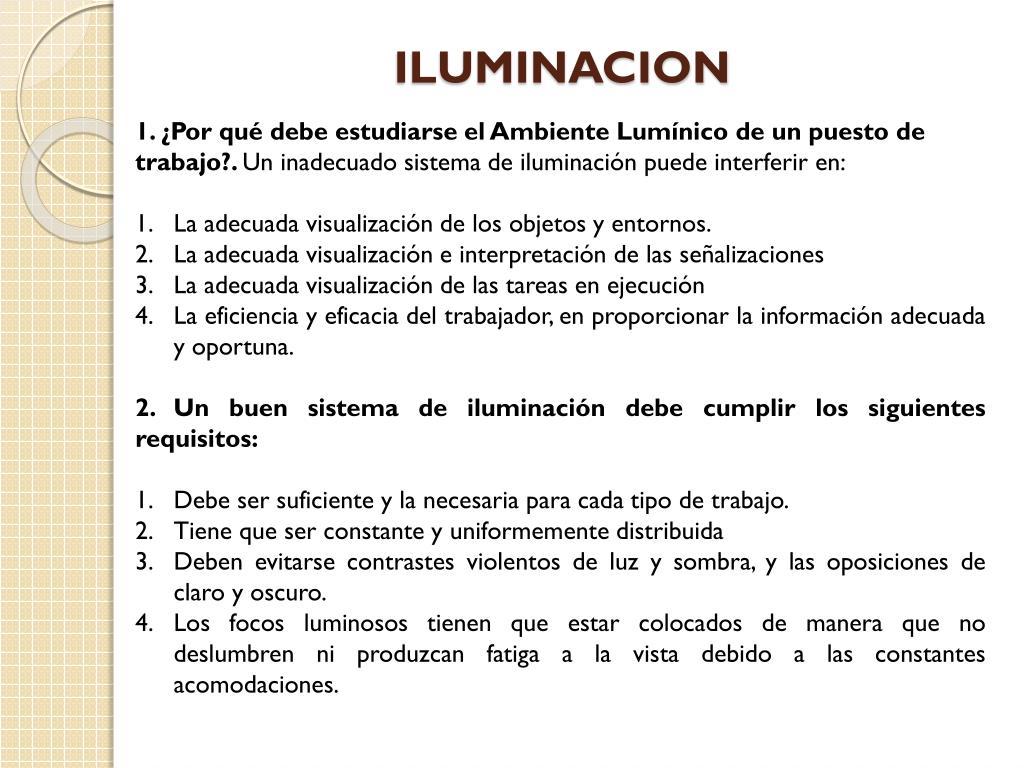 Tipos de iluminación en el trabajo