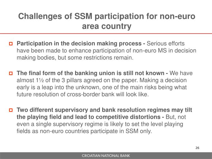 Challenges of SSM participation for non-euro area country