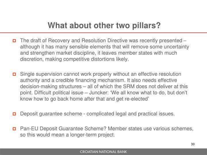 What about other two pillars?