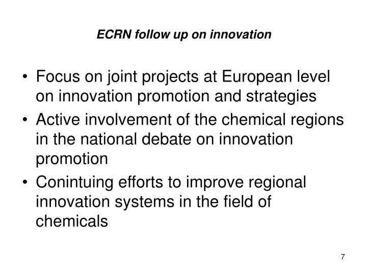 ECRN follow up on innovation