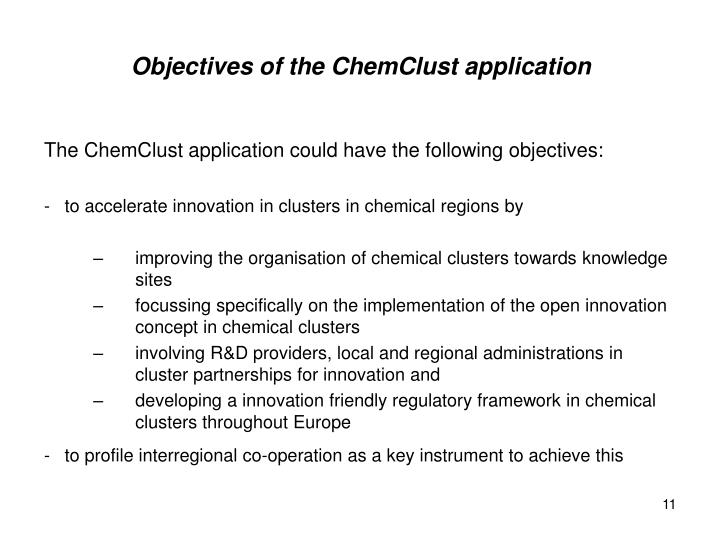 Objectives of the ChemClust application