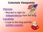 colonists viewpoints
