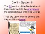 d of i section iii