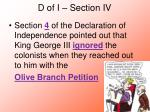d of i section iv