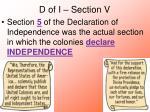d of i section v