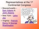 representatives at the 1 st continental congress