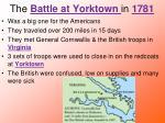 the battle at yorktown in 1781
