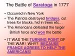 the battle of saratoga in 1777