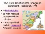 the first continental congress september 5 october 26 1774