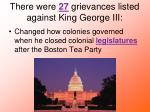 there were 27 grievances listed against king george iii
