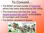 to concord