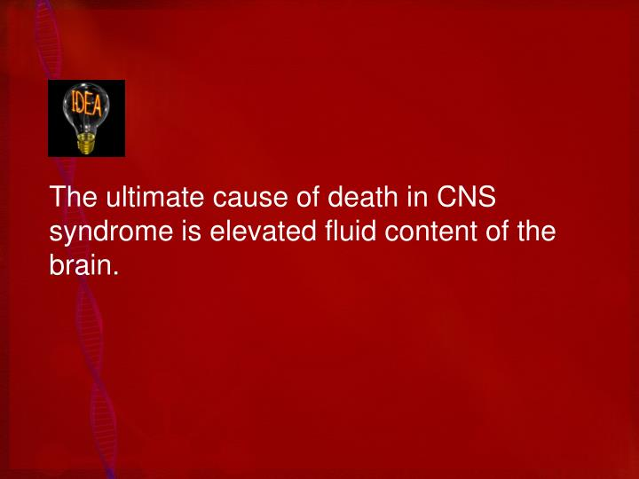 The ultimate cause of death in CNS syndrome is elevated fluid content of the brain.