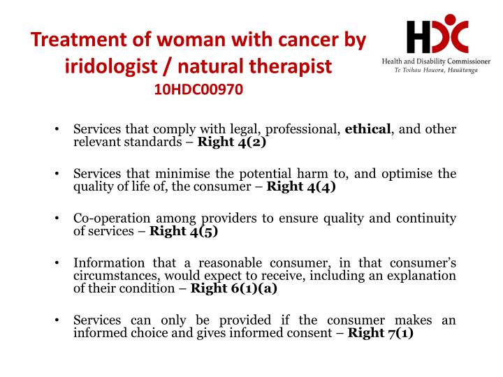 Treatment of woman with cancer by iridologist / natural therapist