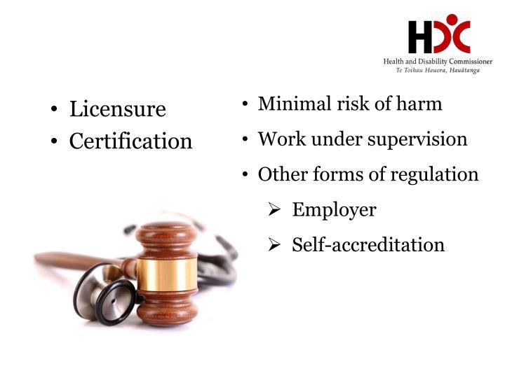 Minimal risk of harm