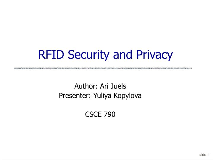 Rfid security and privacy