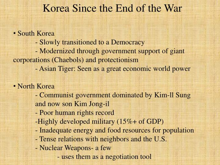 Korea Since the End of the War
