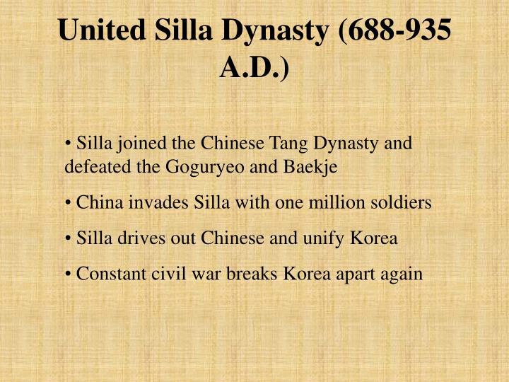 United Silla Dynasty (688-935 A.D.)
