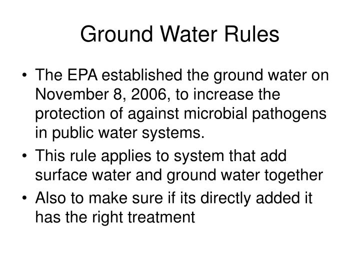 Ground water rules