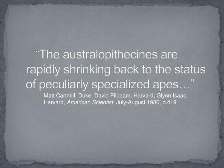 """""""The australopithecines are rapidly shrinking back to the status of peculiarly specialized apes…"""""""