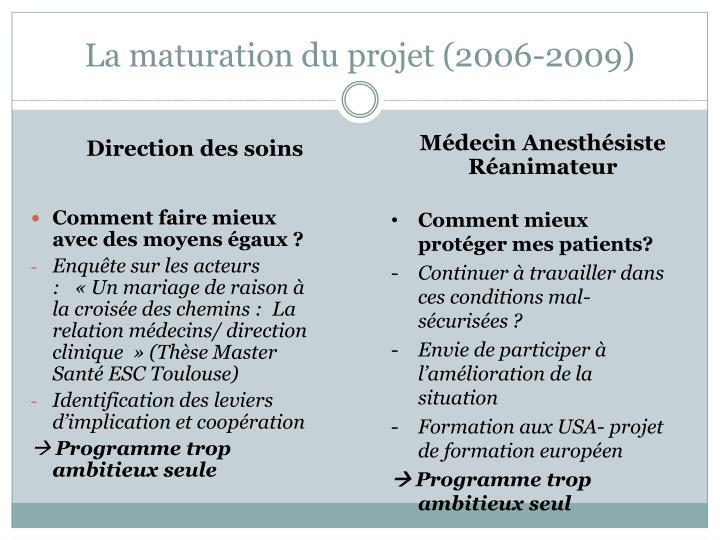 La maturation du projet (2006-2009)