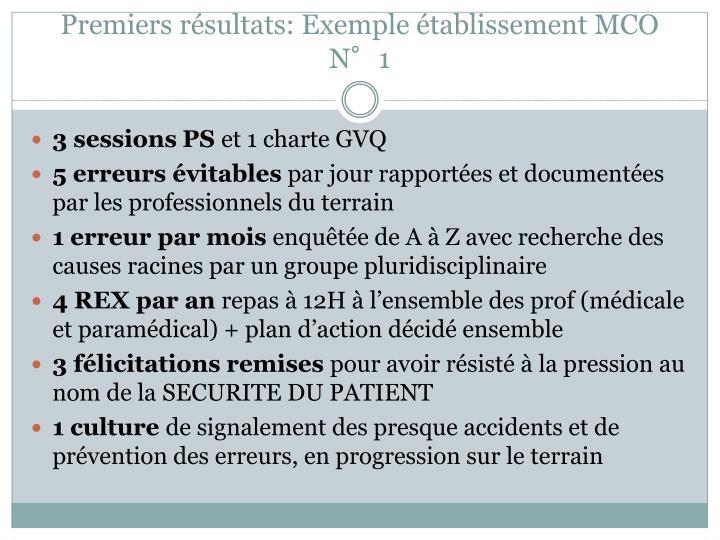 Premiers résultats: Exemple établissement MCO N°1