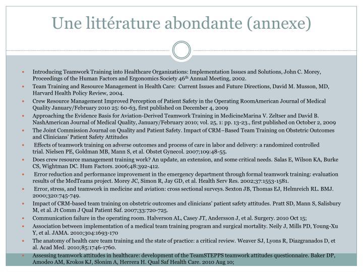 Une littérature abondante (annexe)