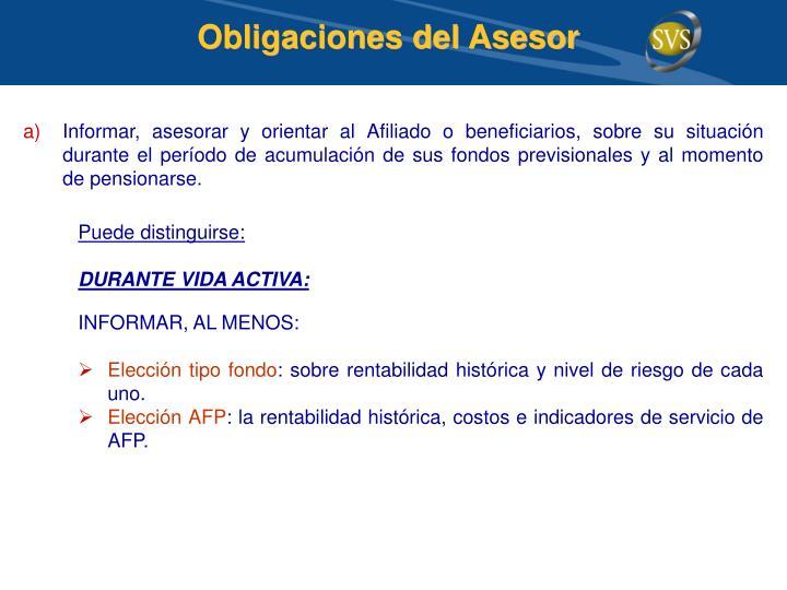 Obligaciones del Asesor