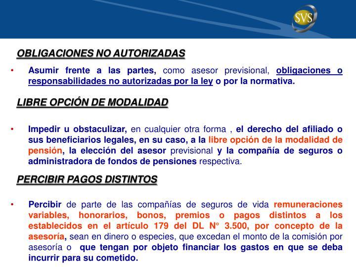 OBLIGACIONES NO AUTORIZADAS