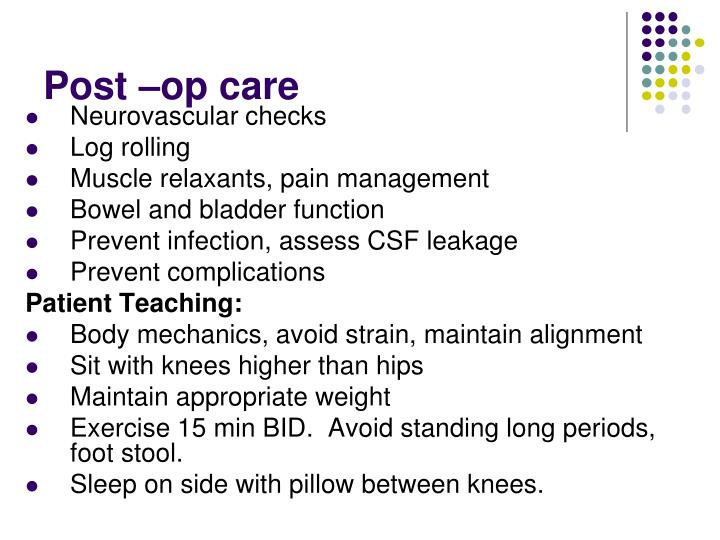 Post –op care