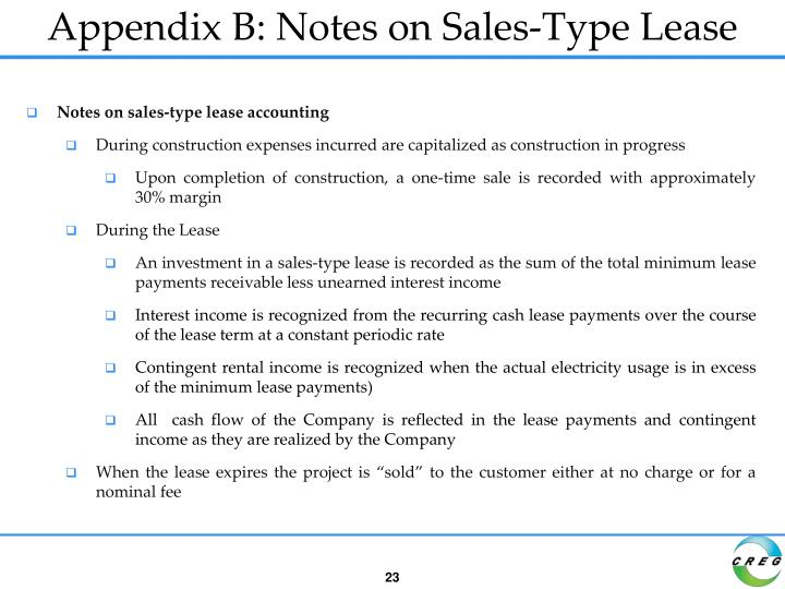 Appendix B: Notes on Sales-Type Lease
