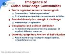 emergence of global knowledge communities