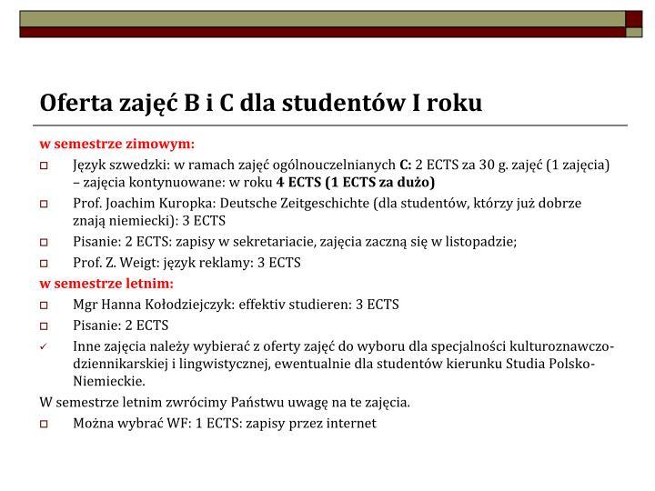 Oferta zajęć B i C dla studentów I roku