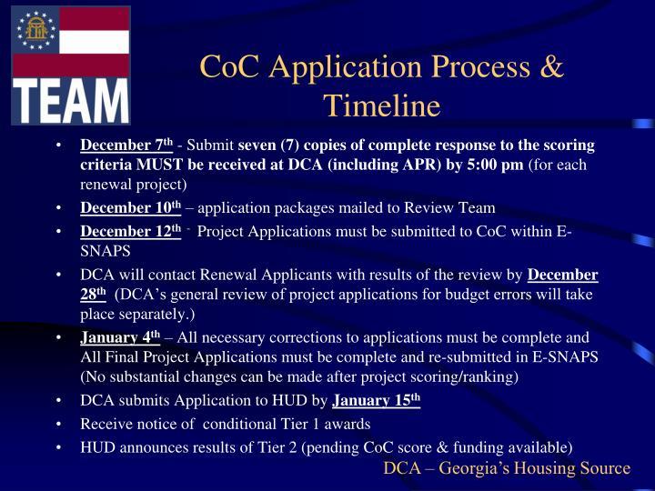 CoC Application Process & Timeline
