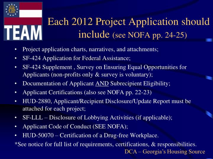 Each 2012 Project Application should include
