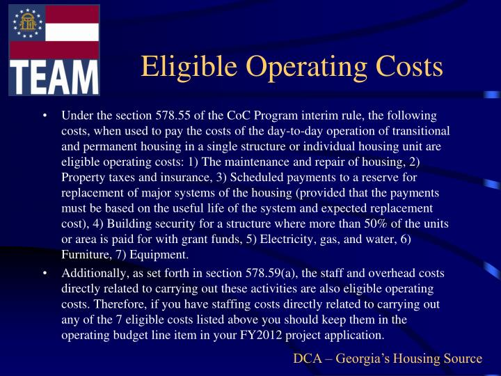 Eligible Operating Costs