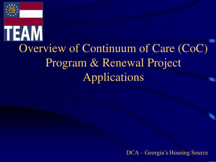 Overview of continuum of care coc program renewal project applications