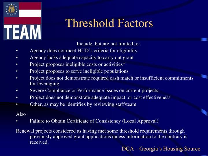 Threshold Factors