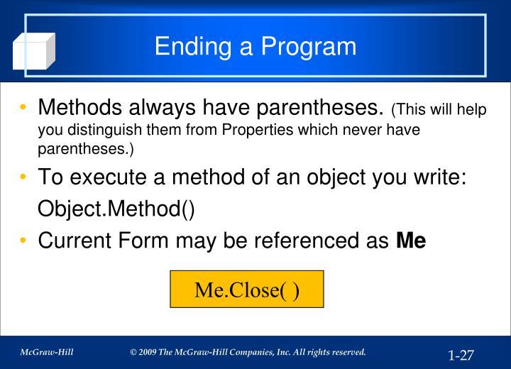 Ending a Program