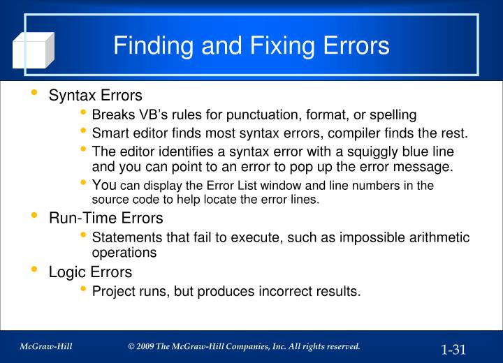 Finding and Fixing Errors