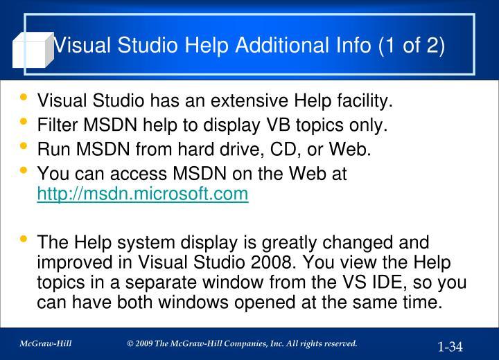 Visual Studio Help Additional Info (1 of 2)
