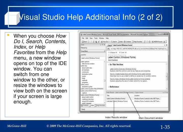 Visual Studio Help Additional Info (2 of 2)