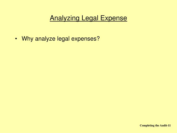 Analyzing Legal Expense