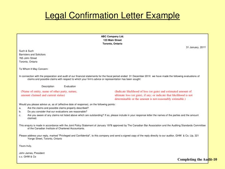 Legal Confirmation Letter Example