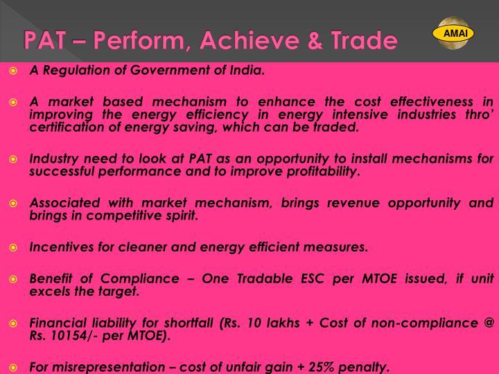 Pat perform achieve trade