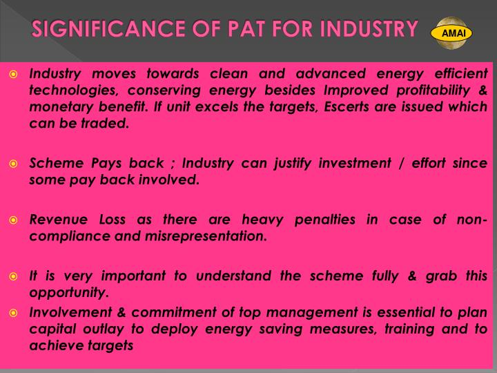 SIGNIFICANCE OF PAT FOR INDUSTRY