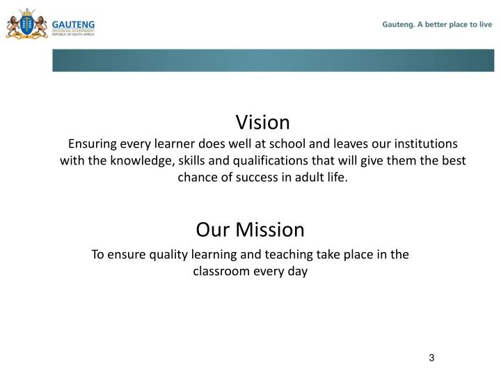 Our mission to ensure quality learning and teaching take place in the classroom every day