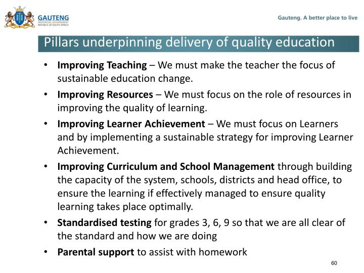 Pillars underpinning delivery of quality education
